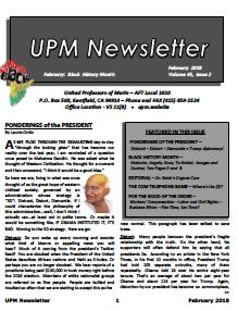 2018 February UPM Newsletter